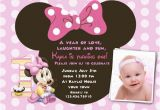 Minnie Mouse 1st Birthday Custom Invitations Minnie Mouse First Birthday Invitations Drevio