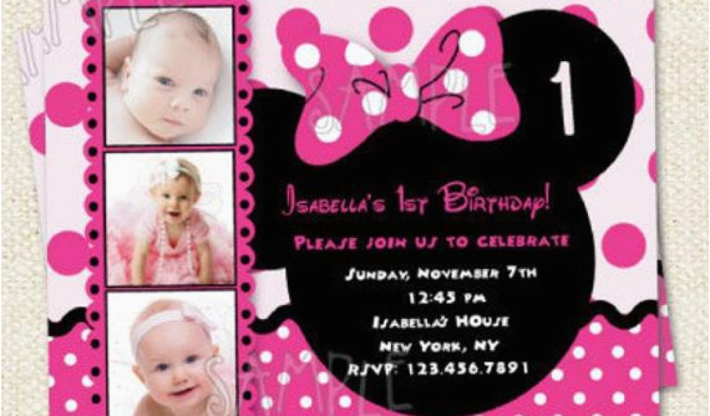 Download By SizeHandphone Tablet Desktop Original Size Back To Minnie Mouse 1st Birthday Custom Invitations