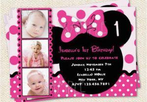 Minnie Mouse 1st Birthday Custom Invitations Minnie Mouse Inspired Custom Photo Birthday Party Invitations