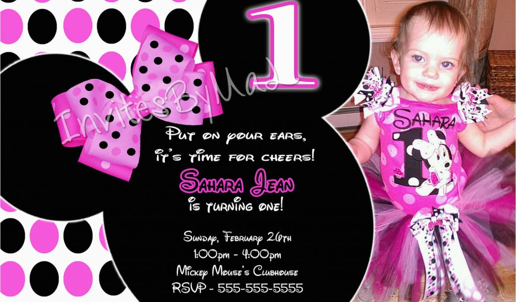 Download By SizeHandphone Tablet Desktop Original Size Back To Minnie Mouse 1st Birthday Invitation Wording