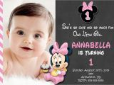 Minnie Mouse 1st Birthday Invitations Online Chalkboard Baby Photo