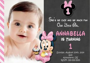 Minnie Mouse 1st Birthday Invitations Online Chalkboard Baby Photo
