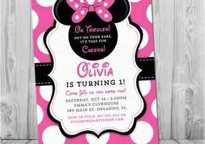 Minnie Mouse 1st Birthday Invitations Online Printable Girls Party