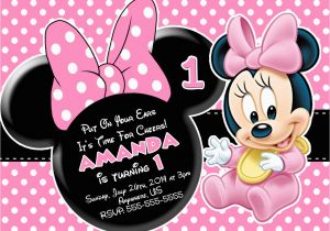 Minnie Mouse 1st Birthday Invitations Online First Drevio