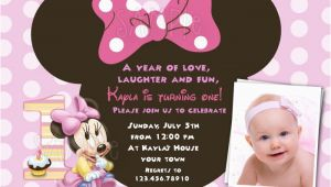 Minnie Mouse 1st Birthday Invitations with Photo Free Download Minnie Mouse 1st Birthday Invitations