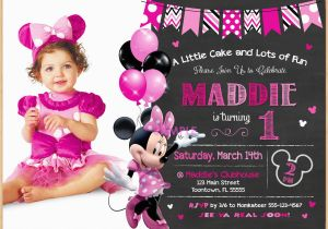 Minnie Mouse 1st Birthday Invitations With Photo Minnie Mouse 1st
