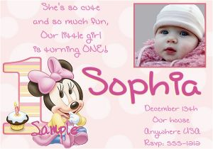 Minnie Mouse 1st Birthday Invites 1st Birthday Invitation Minnie Mouse 365greetings Com