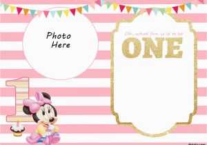 Minnie Mouse 1st Birthday Invites Free Printable Minnie Mouse 1st Invitation Templates