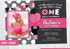 Minnie Mouse 1st Birthday Invites Minnie Mouse Birthday Invitation Minnie Mouse Inspired