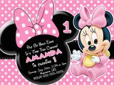 Minnie Mouse 1st Birthday Invites Minnie Mouse First Birthday Invitations Drevio