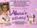 Minnie Mouse 1st Birthday Personalized Invitations Minnie Mouse 1st Birthday Invitations Printable Digital File