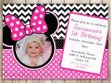 Minnie Mouse 1st Birthday Personalized Invitations Minnie Mouse Chevron Birthday 1st Birthday Invitation 2nd