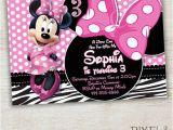 Minnie Mouse Birthday Invitations Diy Items Similar to Zebra Minnie Mouse Birthday Invitation