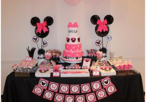 Minnie Mouse Decorations for 1st Birthday Real Parties Pink Zebra Minnie Mouse Inspired 1st