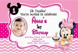 Minnie Mouse First Birthday Invites Baby Minnie Mouse 1st Birthday Invitations Dolanpedia