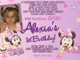 Minnie Mouse First Birthday Invites Minnie Mouse 1st Birthday Invitations Printable Digital File