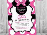 Minnie Mouse First Birthday Invites Minnie Mouse 1st Birthday Invitations Printable Girls