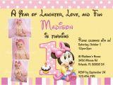 Minnie Mouse First Birthday Invites Minnie Mouse First 1st Birthday Printable Invitation