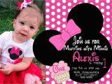 Minnie Mouse First Birthday Invites Minnie Mouse First Birthday Invitations Drevio