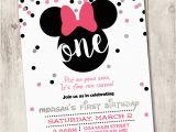 Minnie Mouse First Birthday Invites Minnie Mouse First Birthday Invite Girl 1st by