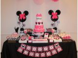 Minnie Mouse First Birthday Party Decorations Real Parties Pink Zebra Minnie Mouse Inspired 1st
