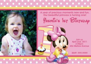 Minnie Mouse Invitations for 1st Birthday Minnie Mouse 1st Birthday Invitations Ideas Bagvania