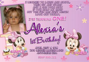 Minnie Mouse Invitations for 1st Birthday Minnie Mouse 1st Birthday Invitations Printable Digital File