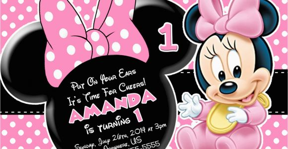 Minnie Mouse Invitations for 1st Birthday Minnie Mouse First Birthday Invitations Drevio