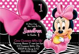 Minnie Mouse Invitations for 1st Birthday Personalized Minnie Mouse First Birthday Invitations