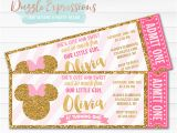 Minnie Mouse Ticket Birthday Invitations Printable Pink and Gold Minnie Mouse Inspired Ticket