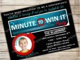Minute to Win It Birthday Party Invitations Minute to Win It Birthday Party Invitation