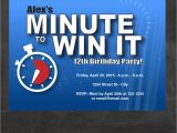 Minute to Win It Birthday Party Invitations Minute to Win It Inspired Birthday Party Invitation Minute to