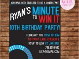 Minute to Win It Birthday Party Invitations Minute to Win It Printable Birthday Invitation