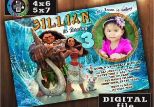 Moana Birthday Invitations Walmart Invitation Custom Digital File Any Age With