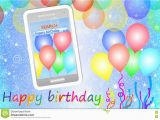 Mobile Birthday Cards Downloads Birthday Greeting Card or Background with Cellphone Stock