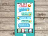 Mobile Birthday Invitations Cell Phone Emoji Sleep Over Teen Invitation Tween 12th