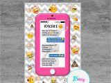 Mobile Birthday Invitations Cell Phone Emoji Tween Teen Birthday Invitation Cellphone