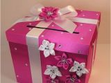 Money Card Boxes for Birthdays Hot Pink and White Wedding Card Box Gift Card Box by