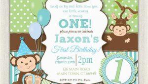 Monkey 1st Birthday Invitations Boys Blue and Green Monkey 1st Birthday Invitation