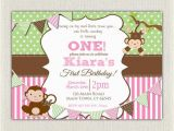 Monkey 1st Birthday Invitations Girls Pink and Green Monkey 1st Birthday Invitation
