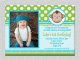 Monkey 1st Birthday Invitations Mod Monkey Birthday Invitation 1st Birthday Polka Dot Birthday