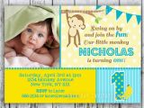 Monkey 1st Birthday Invitations Mod Monkey Birthday Invitation 1st Birthday Polka Dot