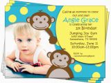 Monkey 1st Birthday Invitations Monkey Birthday Invitations Jungle 1st First Kids by