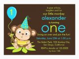 Monkey Invitations for 1st Birthday Cute Little Monkey First Birthday Invitation Zazzle