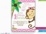 Monkey Invitations for 1st Birthday Girl Monkey Birthday Invitation Jungle Girl First Birthday