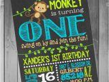 Monkey Invitations for 1st Birthday Monkey Birthday Invitation Monkey Birthday Party Monkey