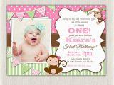 Monkey Invitations for 1st Birthday Monkey First Birthday Invitations Valengo Style