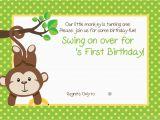 Monkey themed Birthday Invitations Free Printable 1st Monkey Birthday Invitation Free