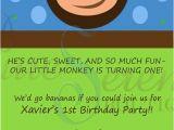 Monkey themed Birthday Invitations Monkey themed Birthday Invitation Jpg Pdf by