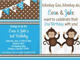 Monkey themed Birthday Invitations Printable Birthday Invitations Twins Party Monkey themed